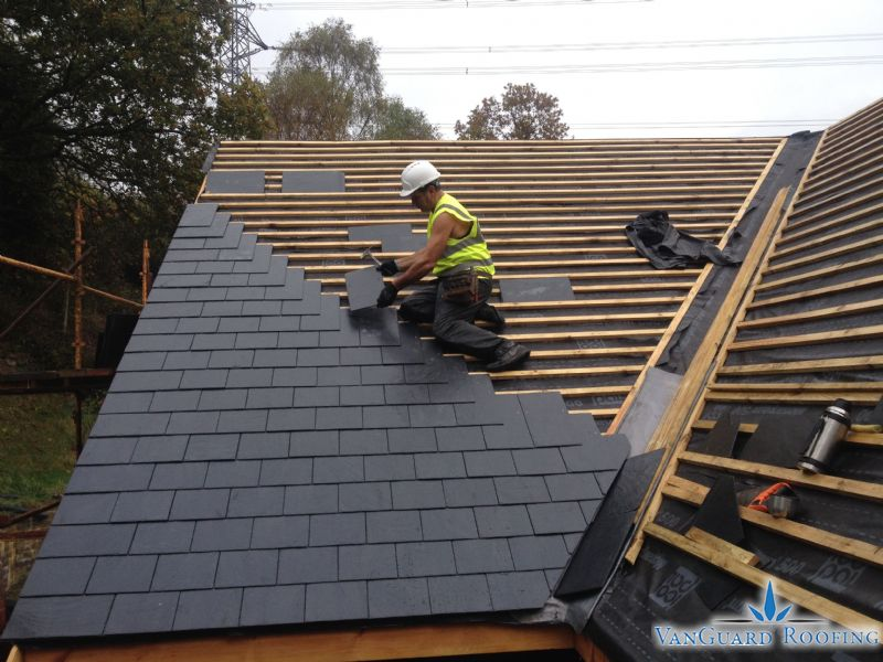 New Roof Construction with Natural Slate - Vanguard Roofing