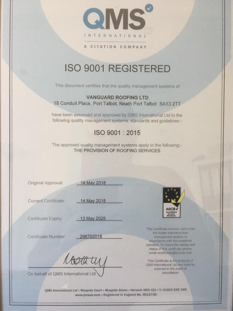 Vanguard Roofing achieve ISO 9001 certification