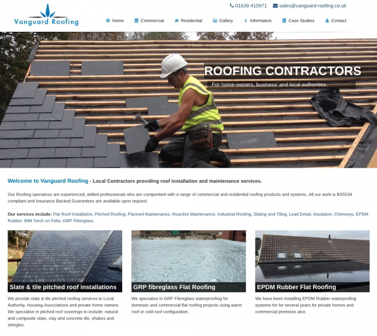 New Vanguard Roofing Website Launch